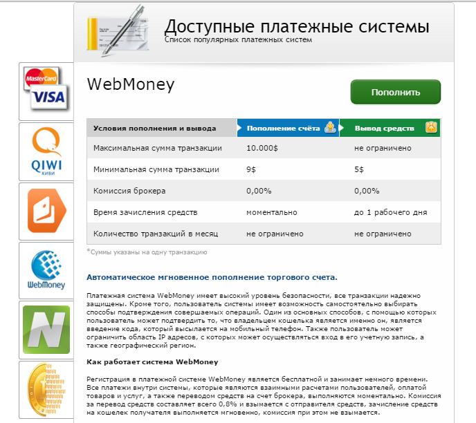 Binarium Платежные системы