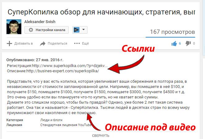 Описание под видео и ссылки на YouTube